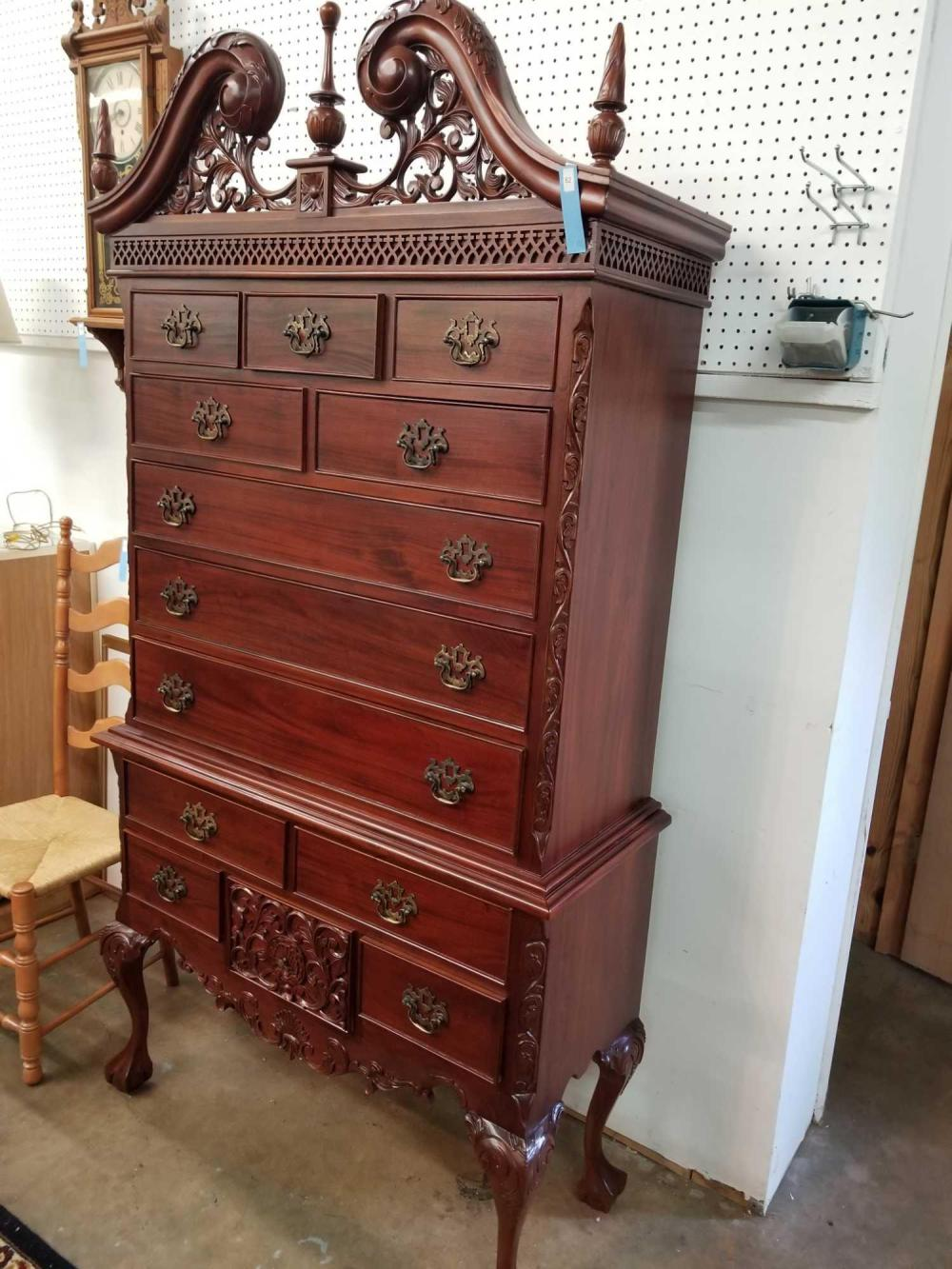 CHIPPENDALE STYLE CHEST ON CHEST MAHOGANY HIBOY