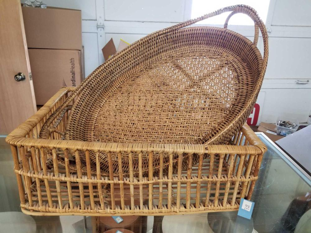 WICKER DECORATOR SERVING TRAYS - 2 ITEMS