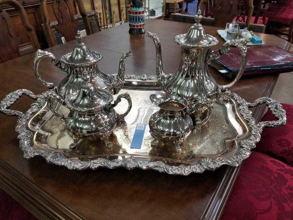 SHEFFIELD SILVER PLATED TEA SERVICE W/ TRAY