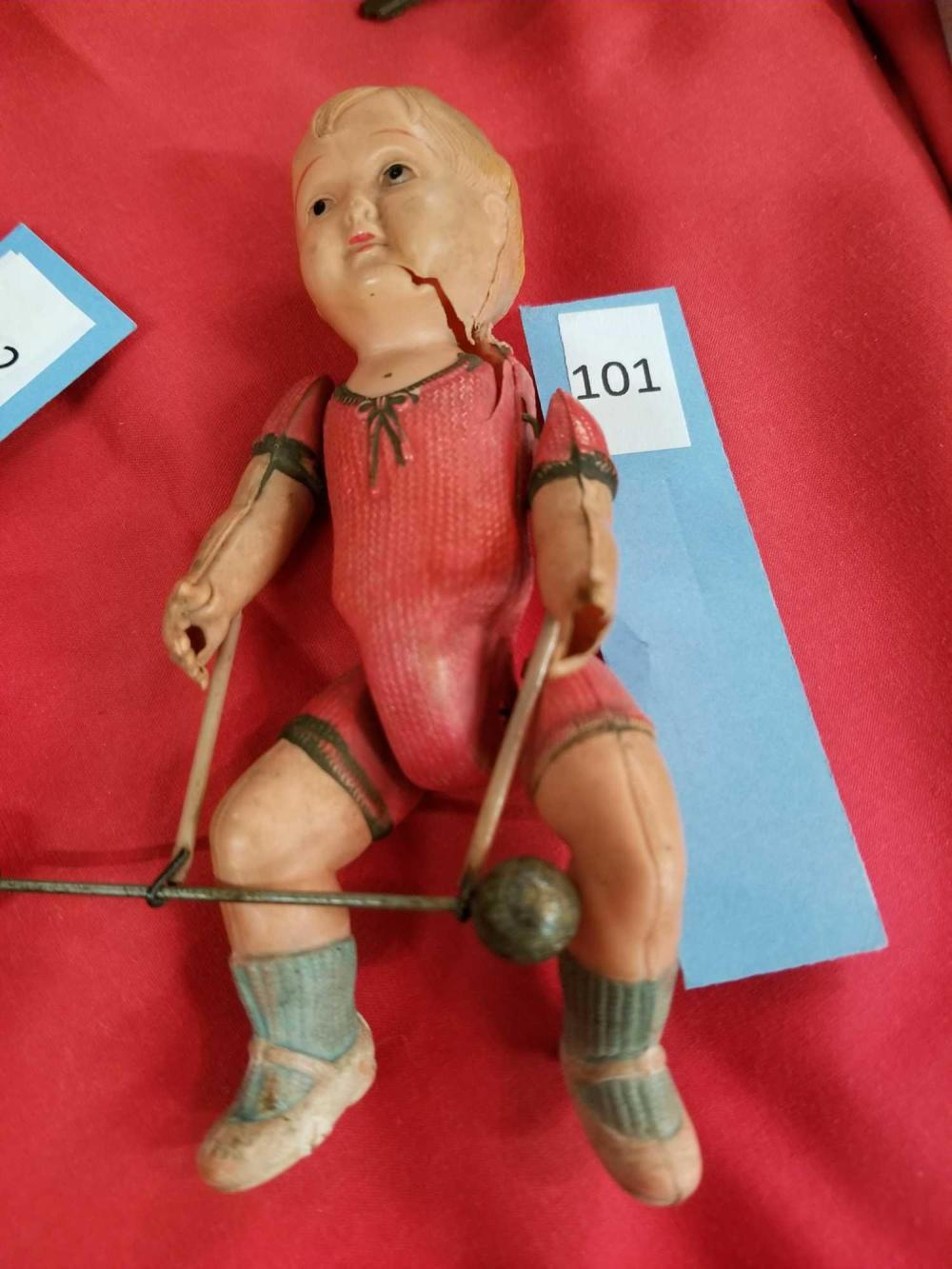 VINTAGE NOTOMODACHI WEIGHT LIFTER PLASTIC BOY DOLL
