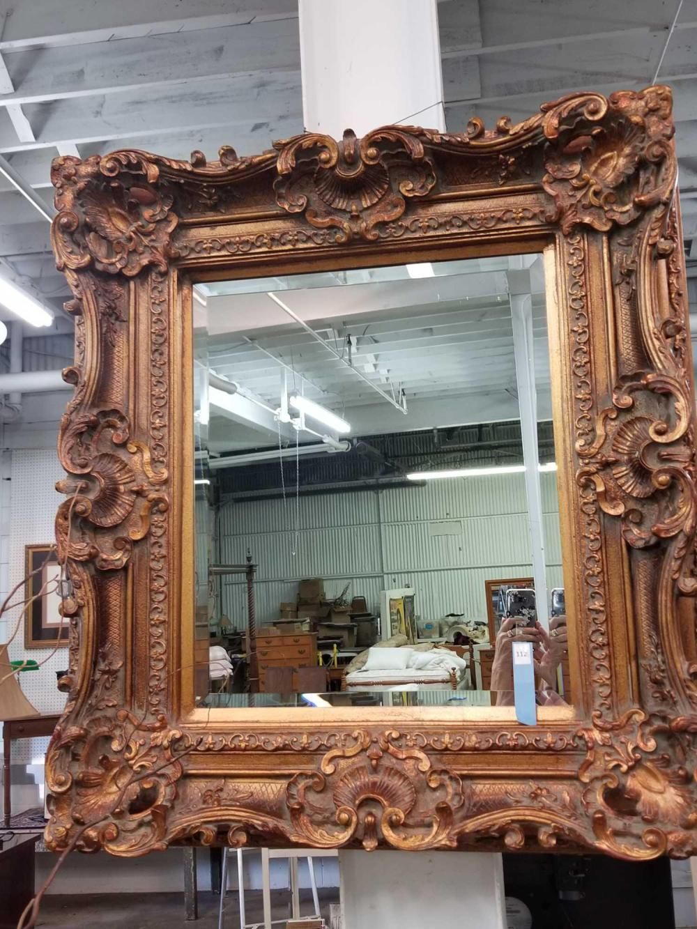 DECORATOR HEAVILY EMBOSSED FRAMED WALL MIRROR