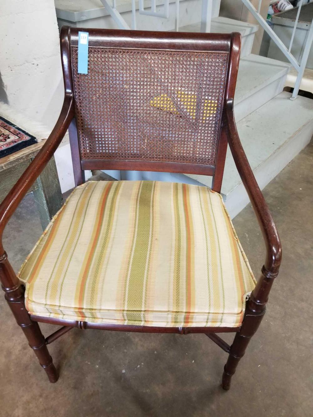 FRENCH STYLE CANE BACK CHAIR W/ WALNUT FINISH