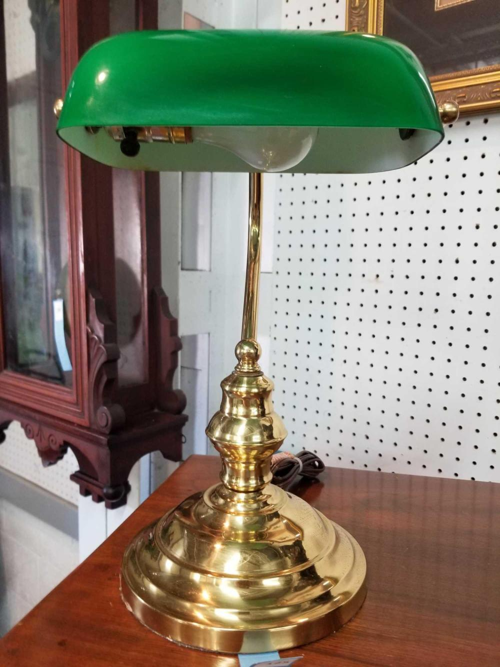 REPRODUCTION GLASS BANKER'S LAMP W/ GREEN SHADE