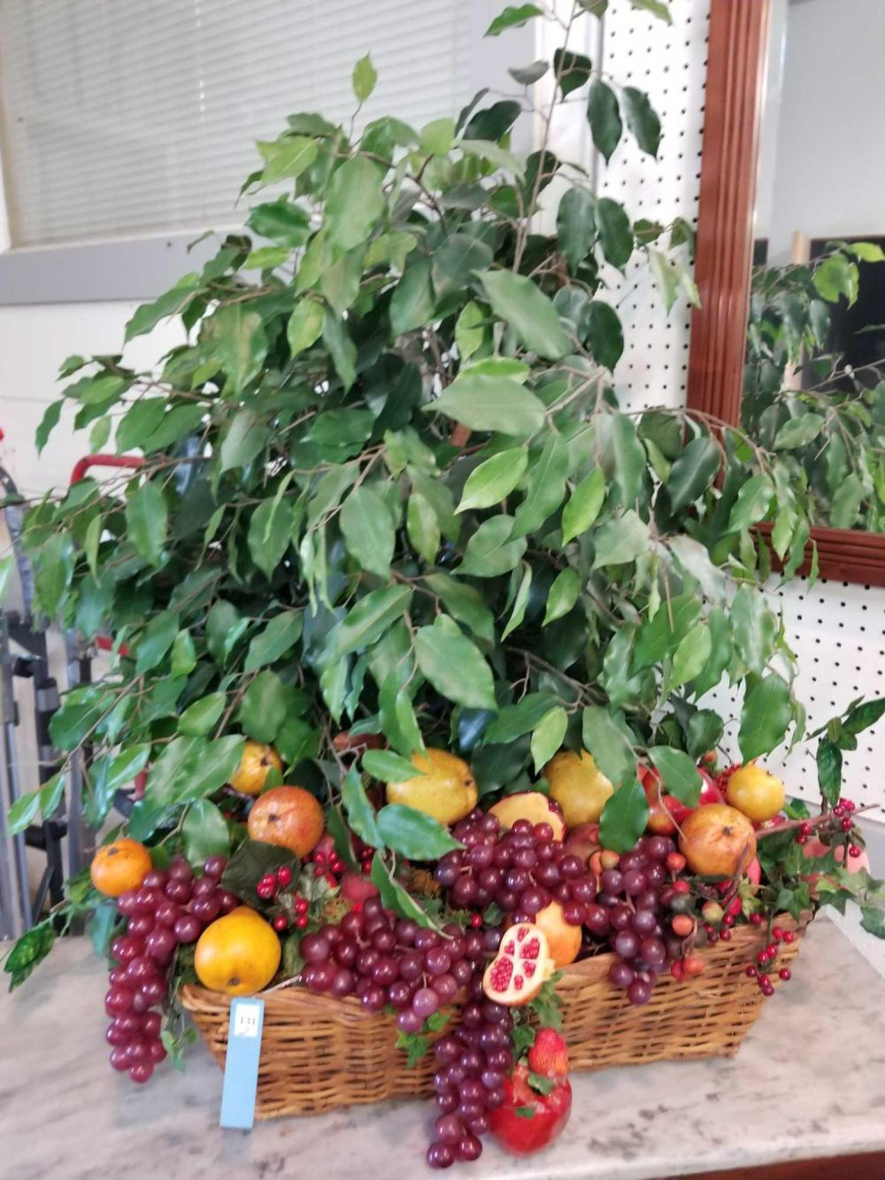 LARGE CENTERPIECE WICKER BASKET FULL OF ARTIFICIAL FRUIT & FICUS TREE - 2 ITEMS