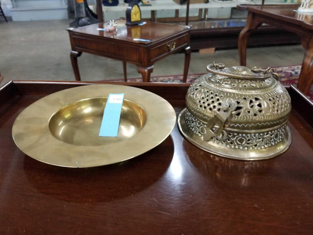 DECORATIVE BRASS DISH & OPEN WORK BRASS COVERED BOX - 2 ITEMS