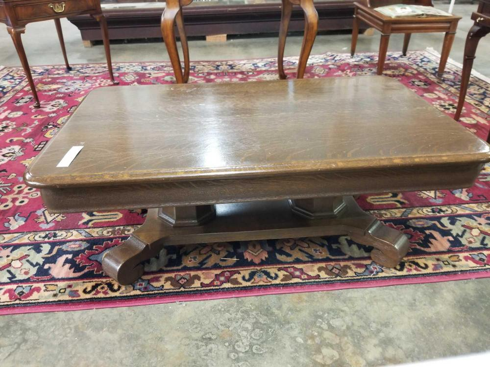 ANTIQUE EMPIRE STYLE OAK COFFEE TABLE