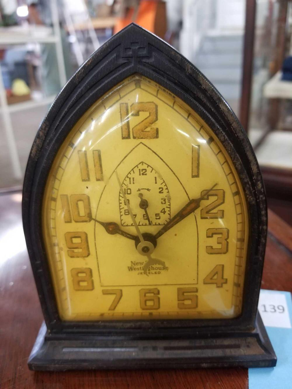 "VINTAGE NEW HAVEN ""JEWELED"" MINIATURE ELECTRIC CATHEDRAL CLOCK"