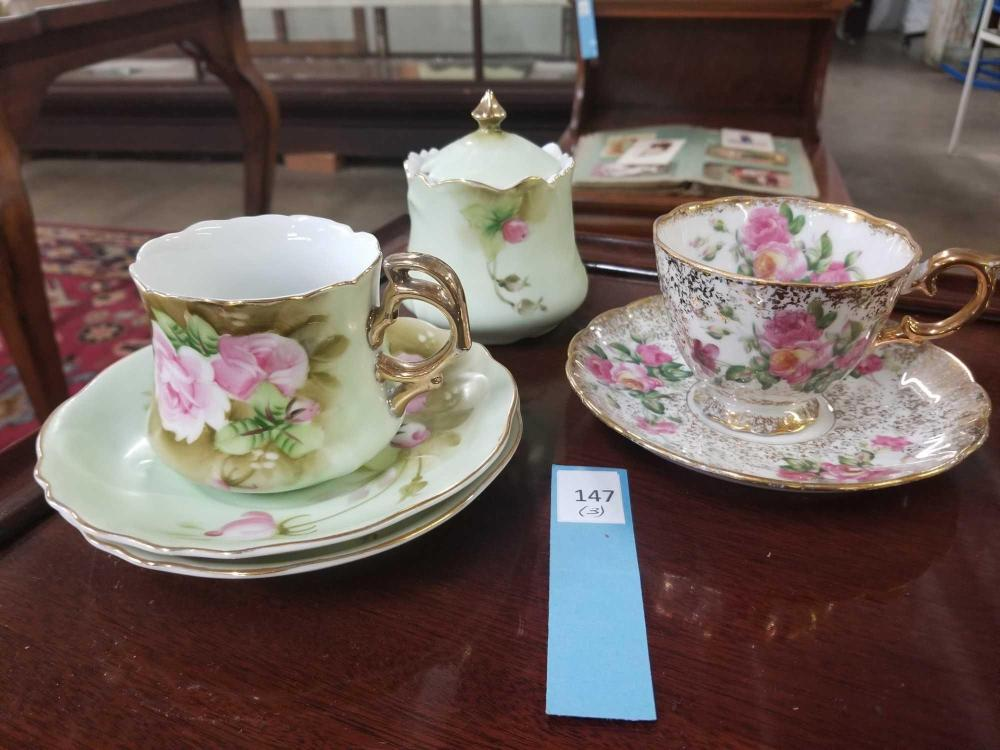 LEFTON CHINA HAND PAINTED ITEMS & CUP & SAUCER - 3 ITEMS