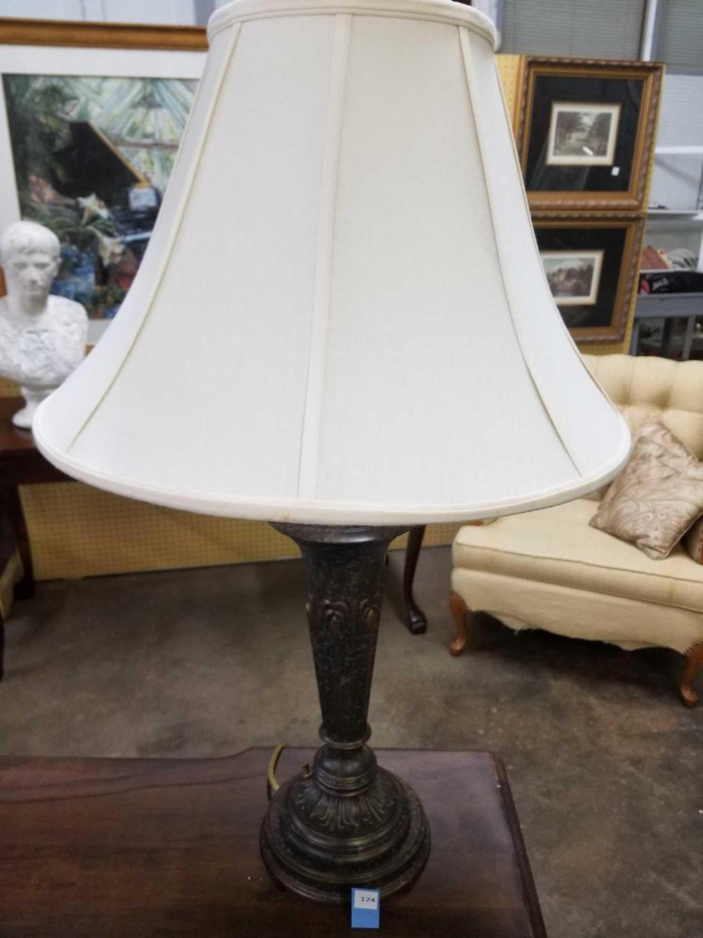 DECORATOR BRONZE TABLE LAMP W/ PANELED SHADE