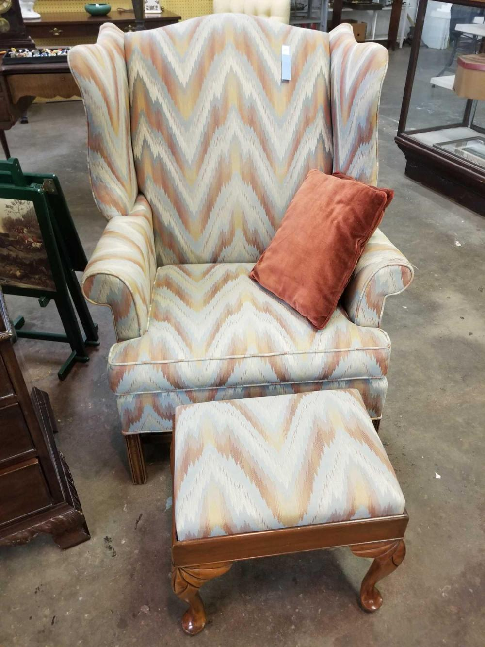 CHIPPENDALE STYLE WING BACK CHAIR & OTTOMAN