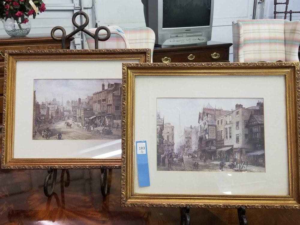 TURN OF THE CENTURY STREET SCENES MATTED & FRAMED PRINTS - PAIR