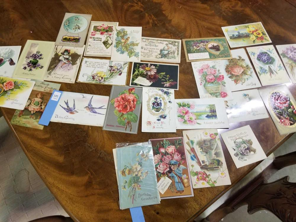 VINTAGE 1910 & UP BIRTHDAY CARDS - 29 TOTAL
