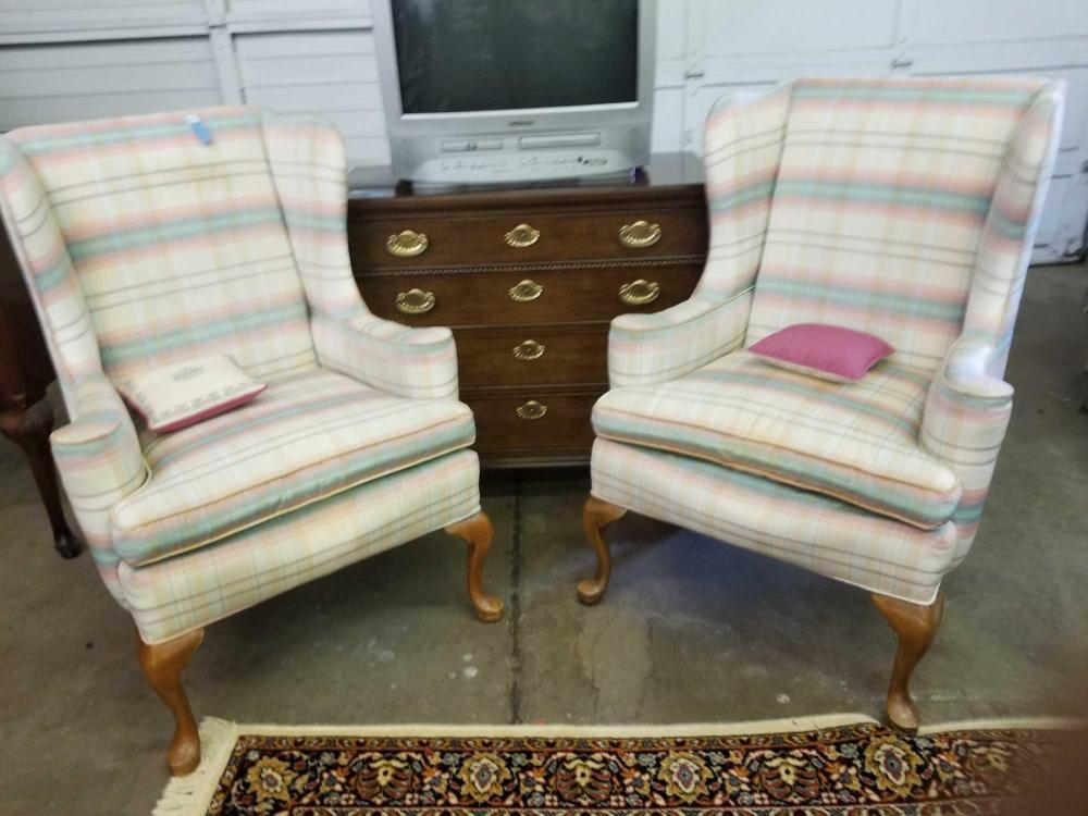 QUEEN ANNE WING BACK CHAIRS - PAIR