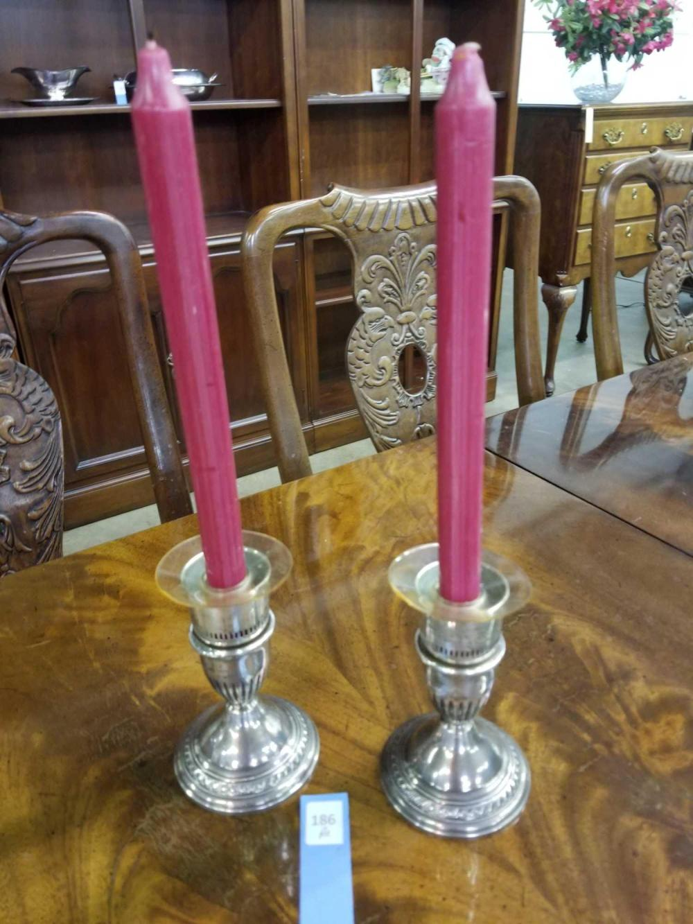 STERLING WEIGHTED SINGLE CANDLE HOLDERS - PAIR