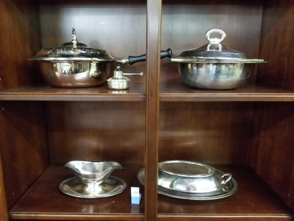 SILVER PLATED SERVING ITEMS - 4 PCS.