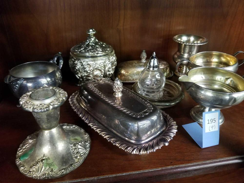 STERLING WEIGHTED CREAM & SUGAR & ASSORTED PLATED SERVING ITEMS - 9 PCS.