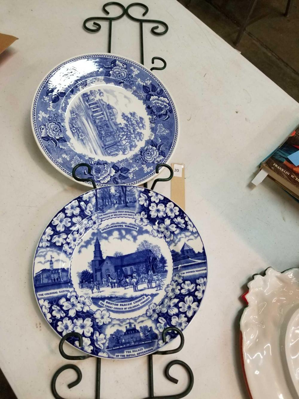 Lot Wedgwood Monticello Adams Bruton Parish Church Blue White Plates W Wall Hanger Rack 3 Items