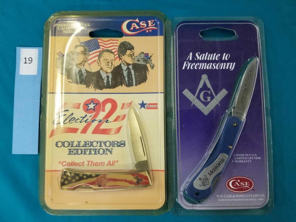 CASE XX 1992 PRESIDENTIAL SERIES & SALUTE TO FREEMASONRY KNIVES - 2 ITEMS