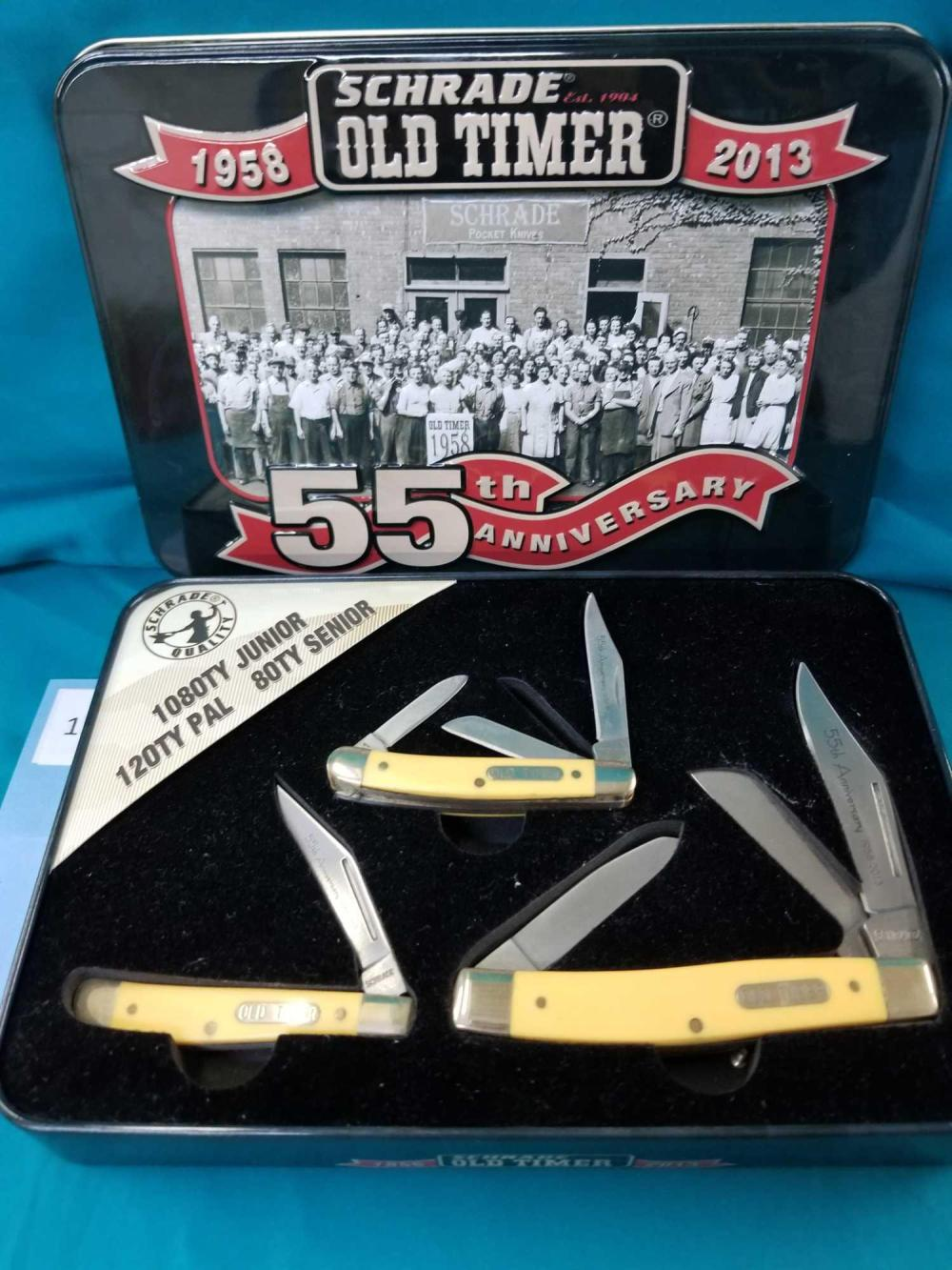"""SCHRADE 55TH ANNIVERSARY """"OLD TIMER"""" 3 KNIFE BOXED SET"""
