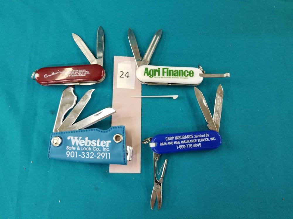ADVERTISING POCKET KNIVES - 4 ITEMS
