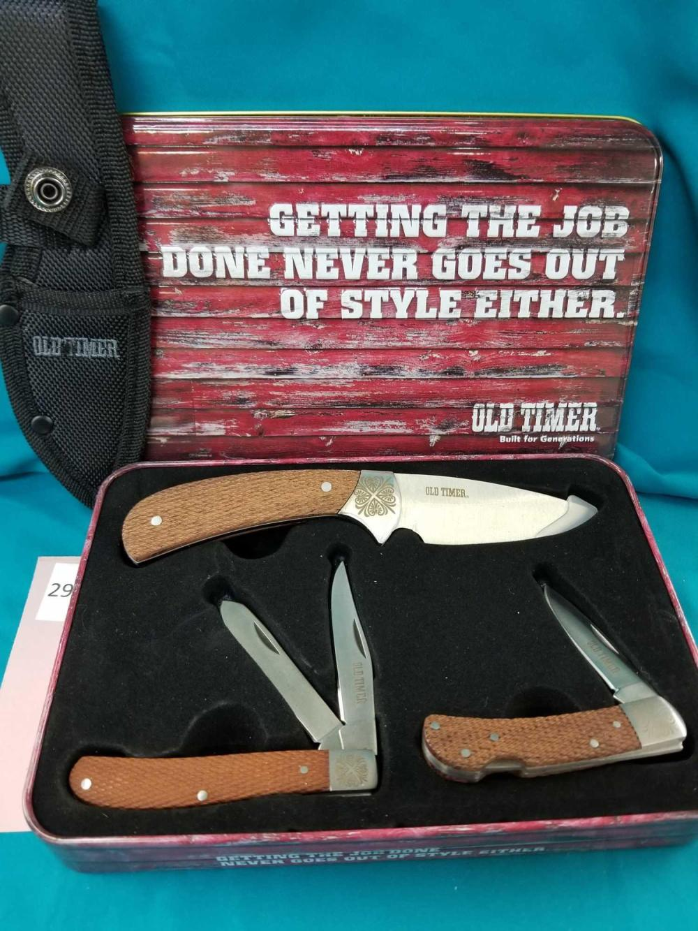 """""""OLD TIMER"""" 3 KNIFE SET IN COLLECTOR TIN"""