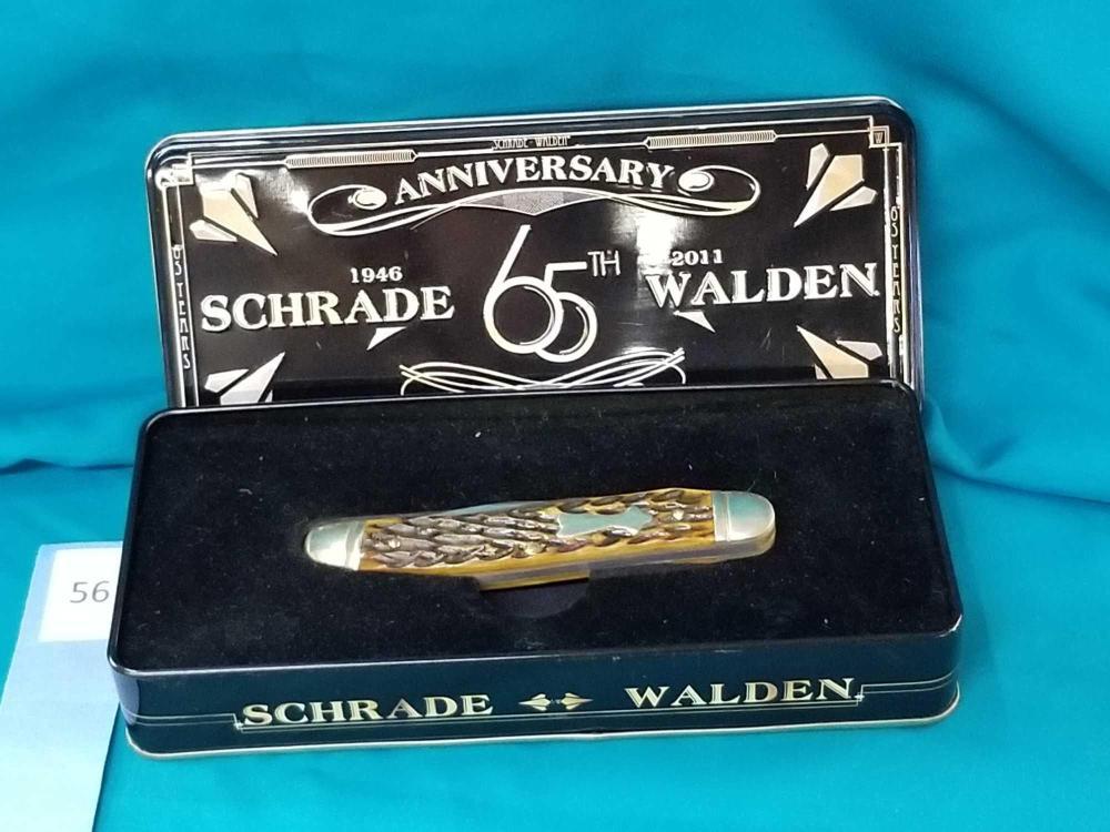 SCHRADE-WALDEN 65TH ANNIVERSARY IMPROVED MUSKRAT KNIFE IN COLLECTOR TIN
