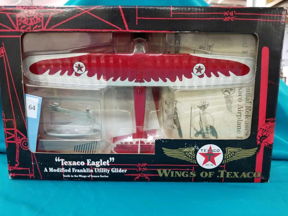 "TEXACO ""EAGLET"" MODIFIED FRANKLIN UTILITY GLIDER DIE CAST AIRPLANE BANK BY ERTL"