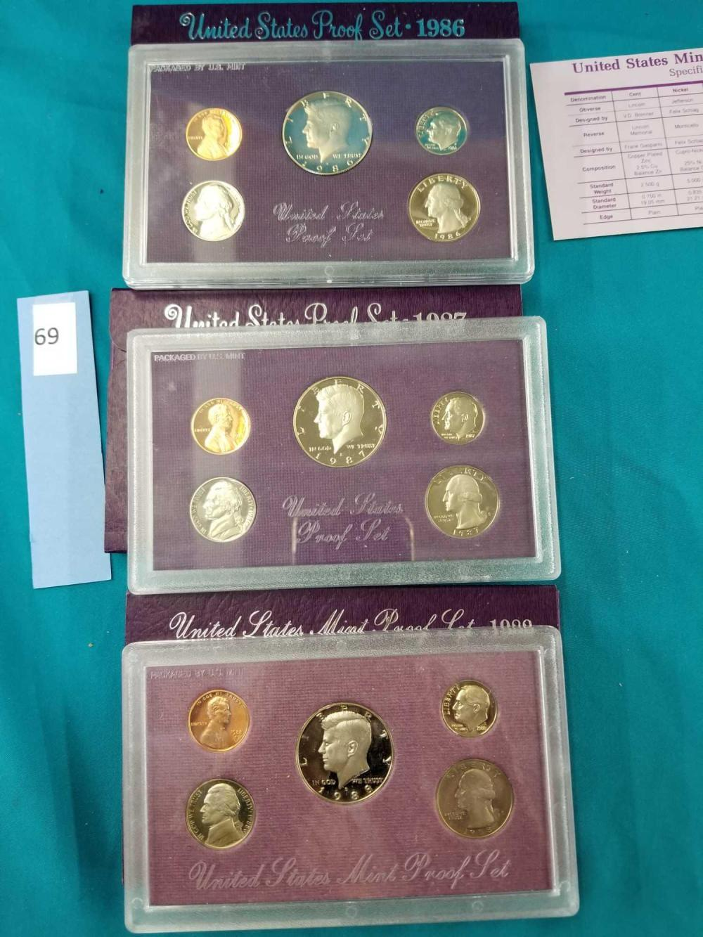 U.S. 1986, 87' & 88' MINT PROOF COIN SETS - 3 ITEMS