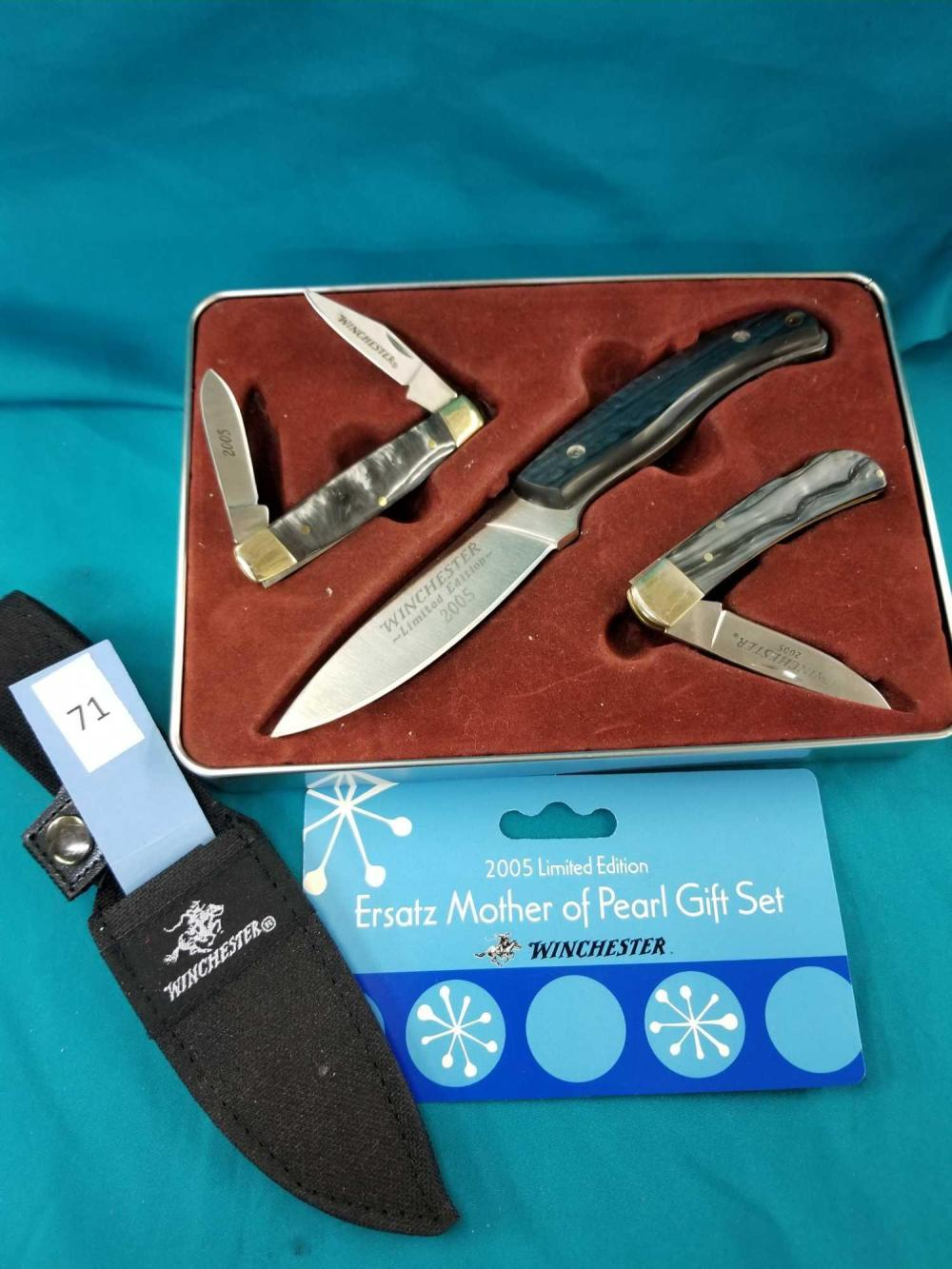 WINCHESTER LIMITED EDITION 2005 ERSATZ MOTHER OF PEARL 3 KNIFE GIFT SET