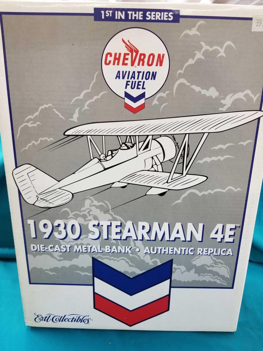 CHEVRON AVIATION FUELS 1930 STEARMAN 4E DIE CAST METAL AIRPLANE BANK IN THE BOX