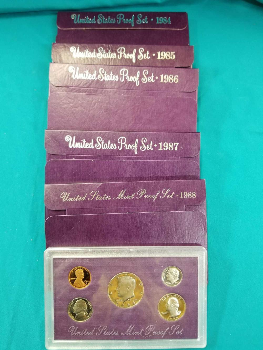1984-1988 U.S. MINT PROOF COIN SETS - 5 ITEMS
