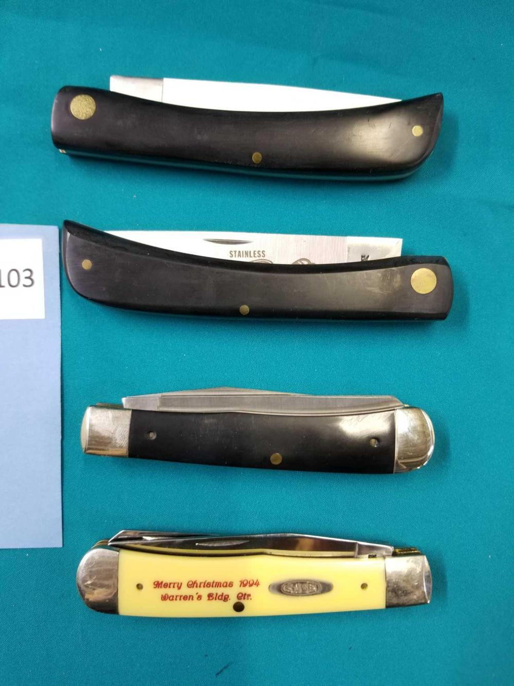 CASE SINGLE BLADE SOD BUSTER (2) & DOUBLE BLADE FOLDING KNIVES - 4 ITEMS