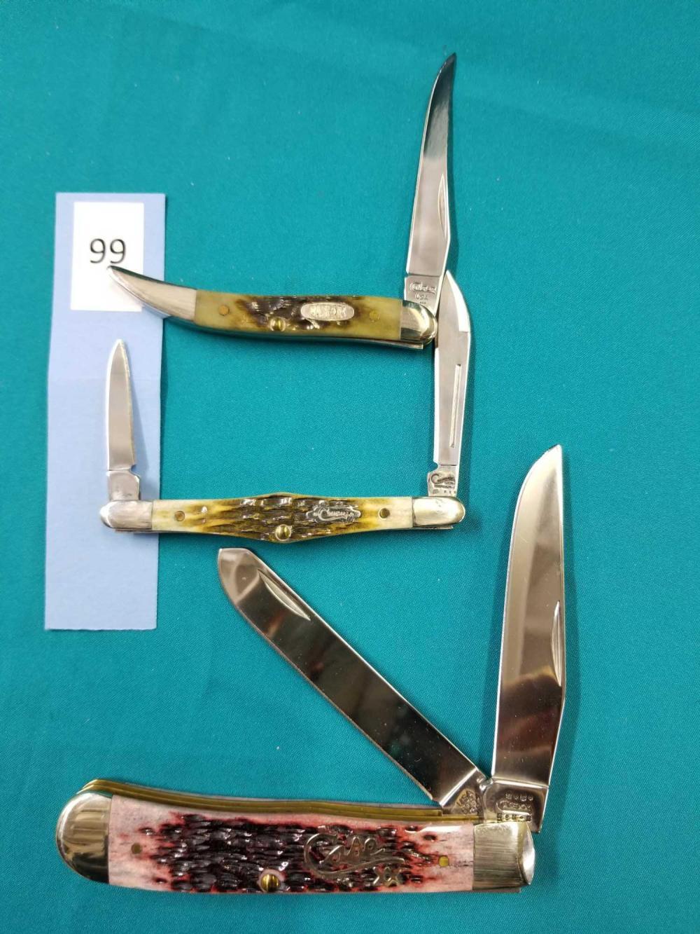 CASE & CRANDALL FOLDING POCKET KNIVES - 3 ITEMS