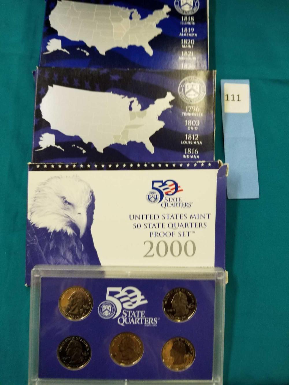 2000, 2002 & 2003 U.S.PROOF STATE QUARTERS COIN SETS - 3 ITEMS