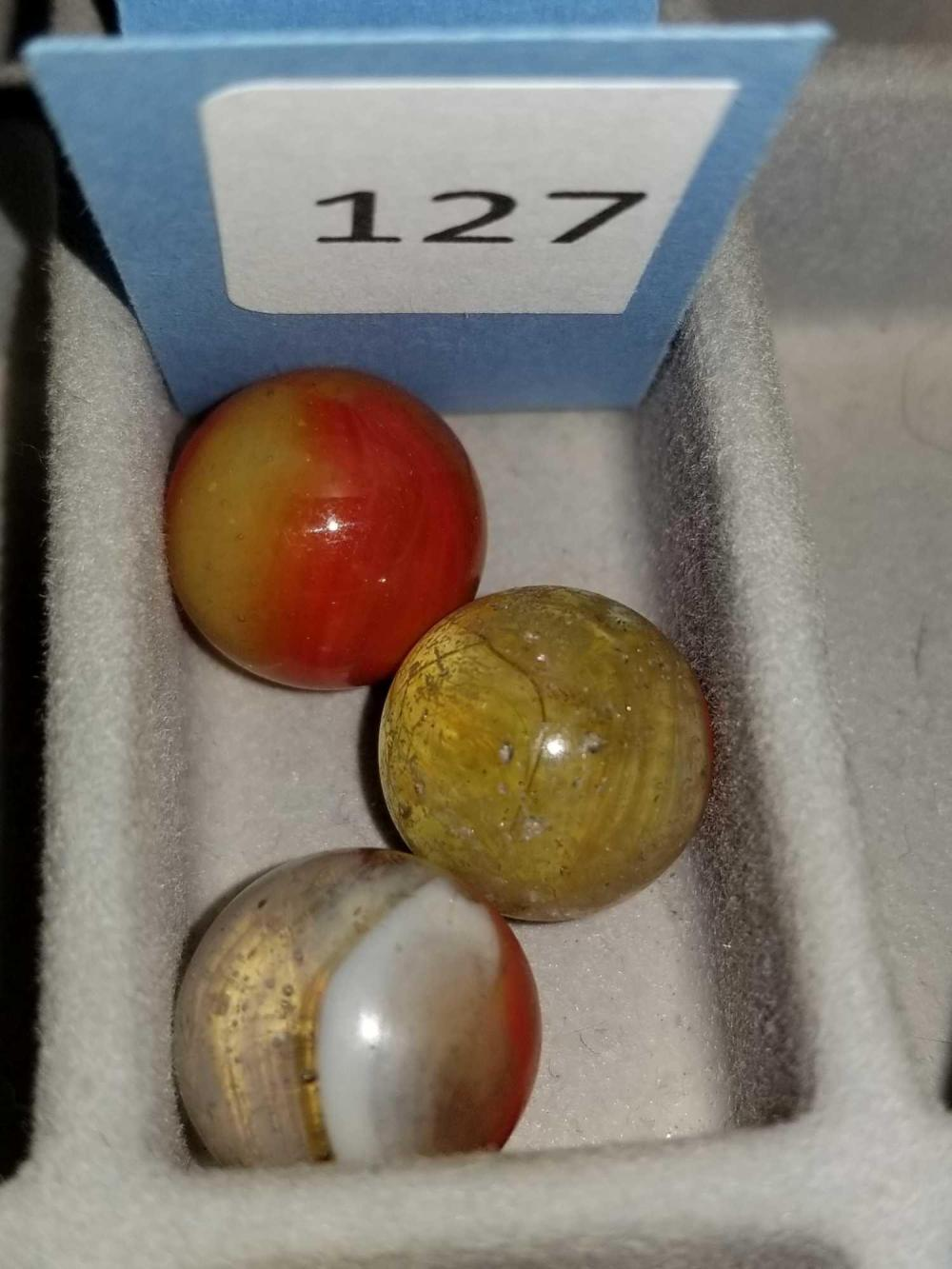 AKRO AGATE OXBLOOD MARBLES - 3 ITEMS