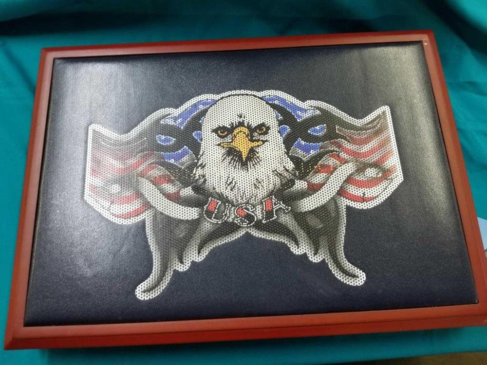 """THE FRANKLIN MINT """"AMERICAN EAGLE"""" REDWOOD STAINED STORAGE CASE"""