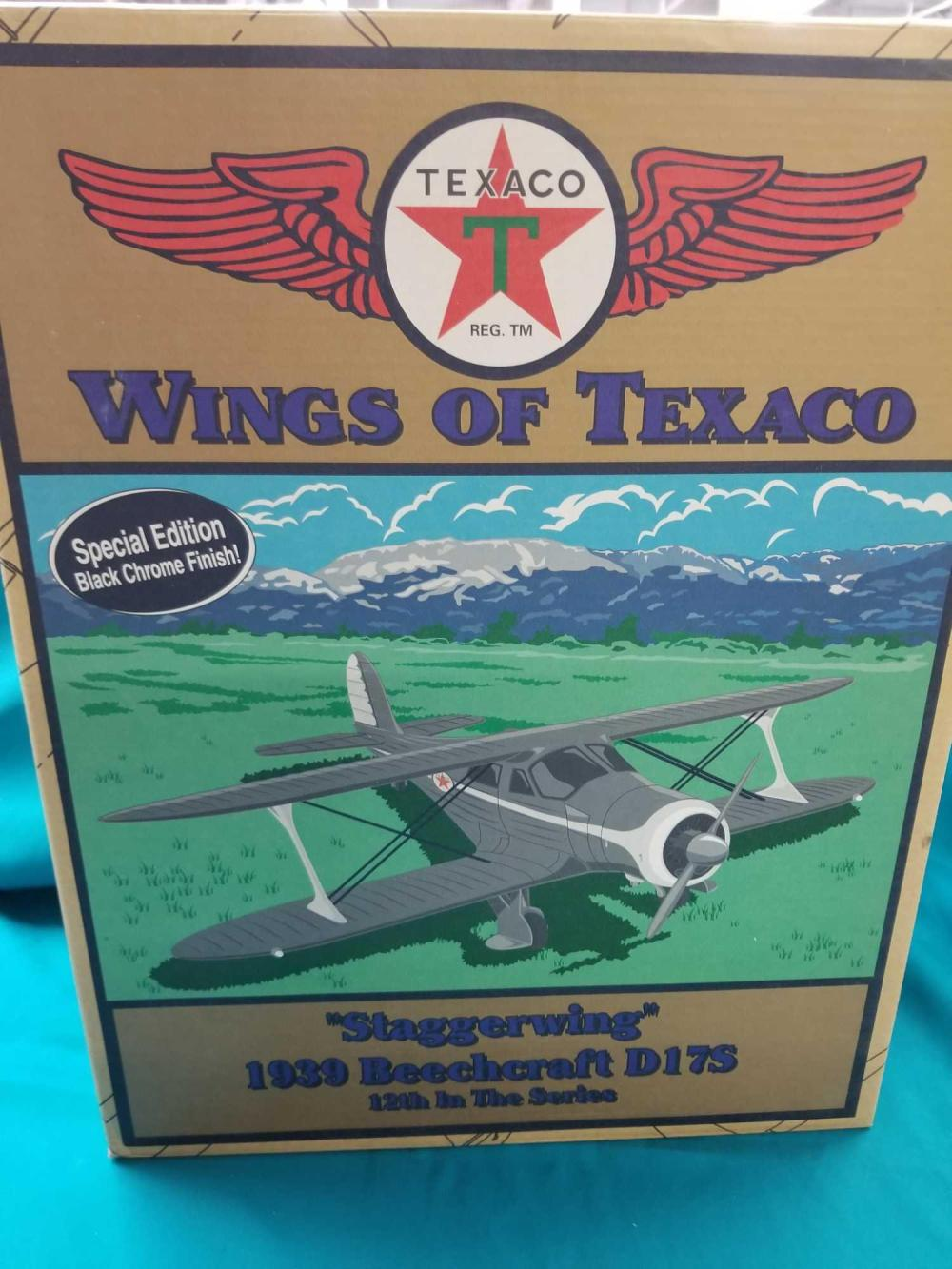 """WINGS OF TEXACO """"STAGGERWING"""" 1939 BEECHCRAFT D 17S DIE CAST AIRPLANE BANK BY ERTL IN THE BOX"""