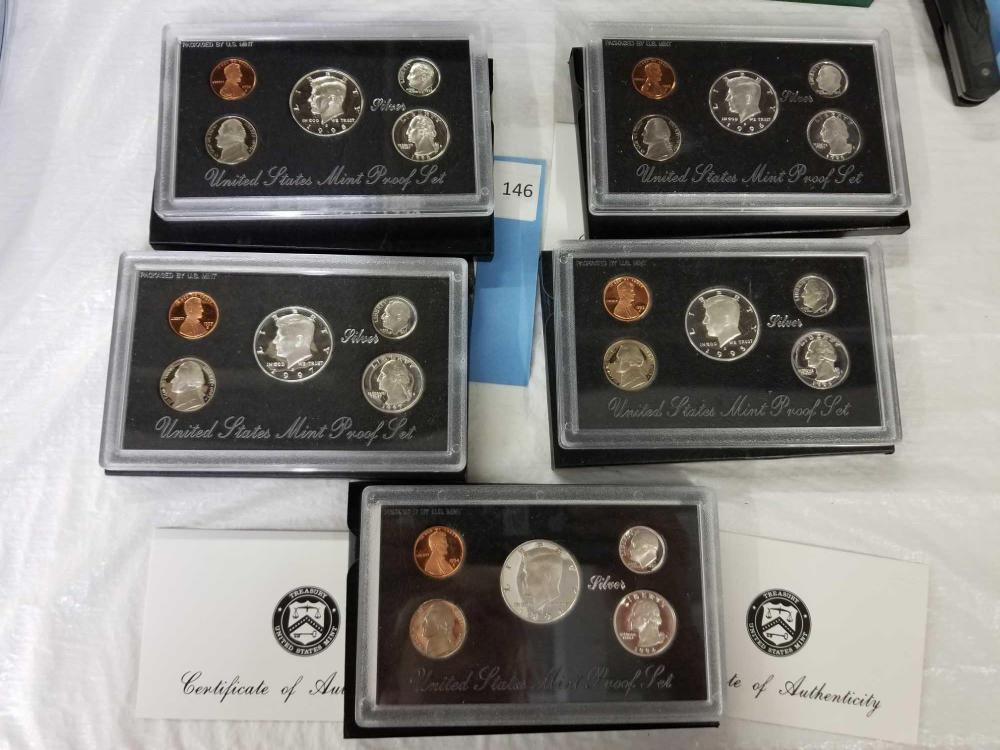 1994-1998 U.S. MINT PROOF COIN SETS  - 5 ITEMS