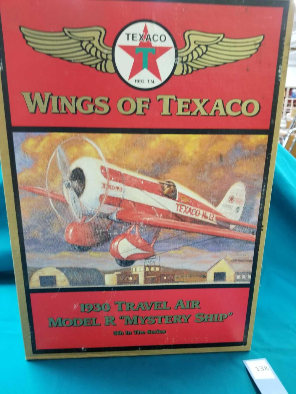 WINGS OF TEXACO 1930 TRAVEL AIR MODEL R (MYSTERY SHIP) DIE CAST AIRPLANE BANK BY ERTL IN THE BOX