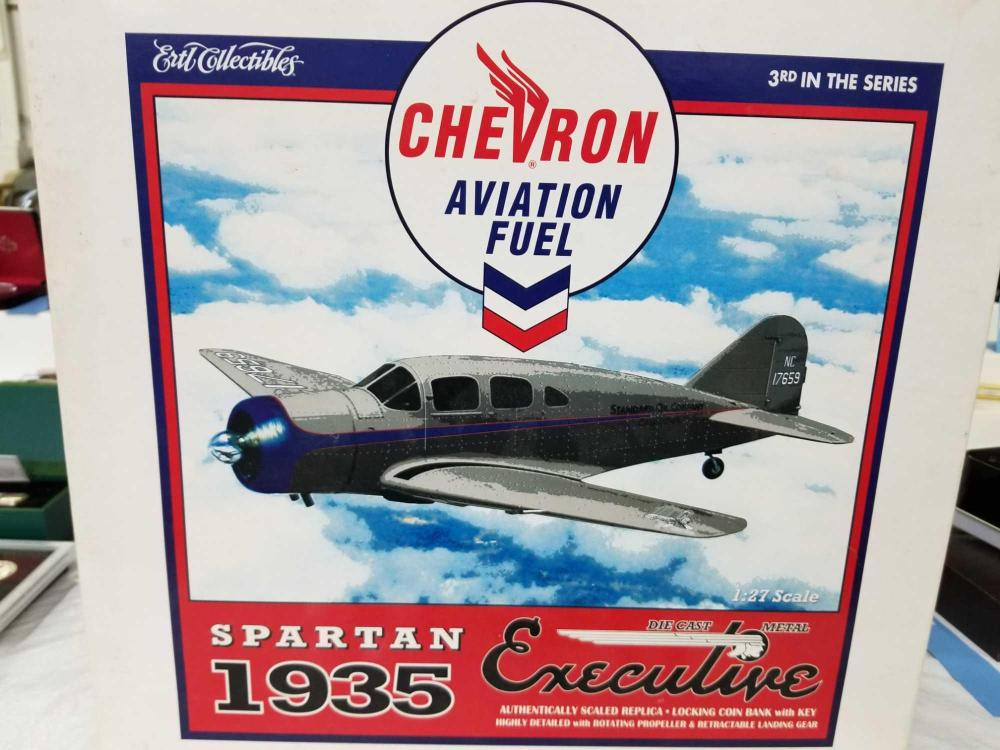CHEVRON AVIATION FUEL SPARTAN EXECUTIVE DIE CAST AIRPLANE BANK BY ERTL IN THE ORIGINAL BOX