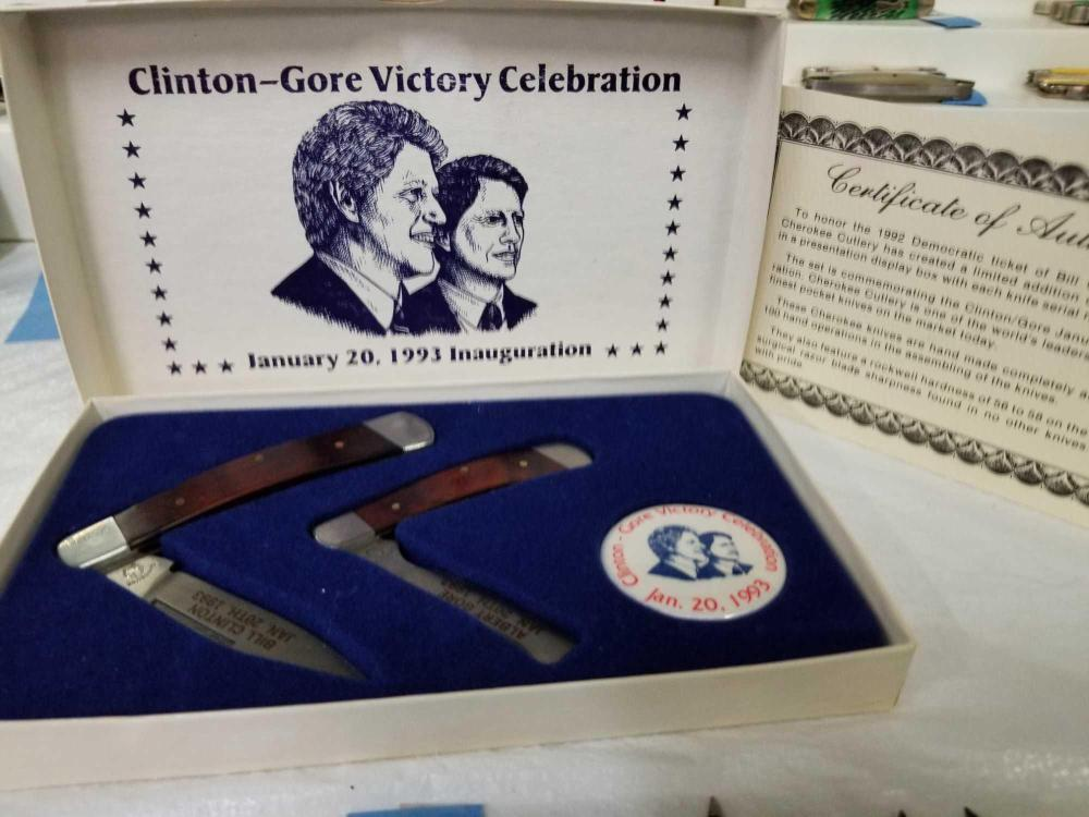 CLINTON-GORE VICTORY CELEBRATION 1993 INAUGURATION 2 KNIFE SET IN THE ORIGINAL BOX W/ PAPERWORK