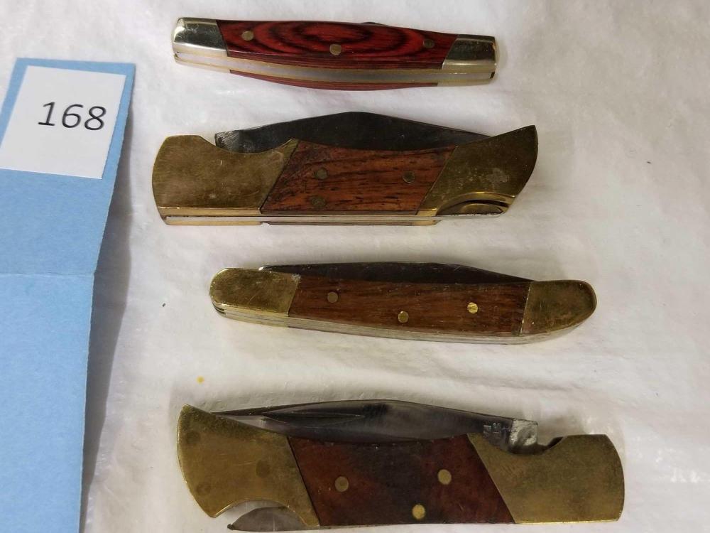 ELK RIDGE, PAKISTAN & CHINA FOLDING POCKET KNIVES - 4 ITEMS