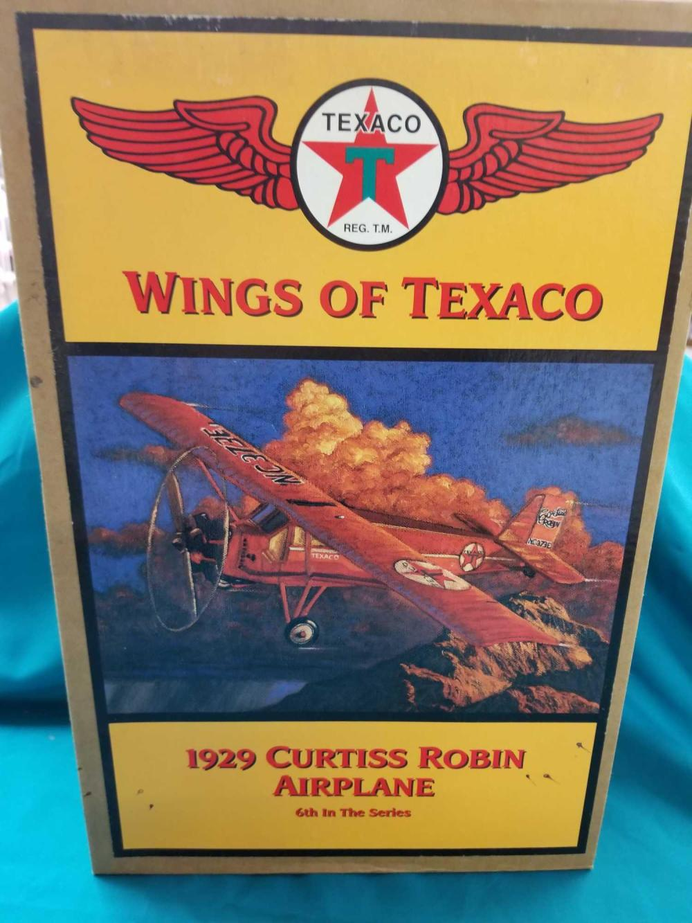 WINGS OF TEXACO 1929 CURTISS ROBIN DIE CAST AIRPLANE BANK BY ERTL IN THE BOX