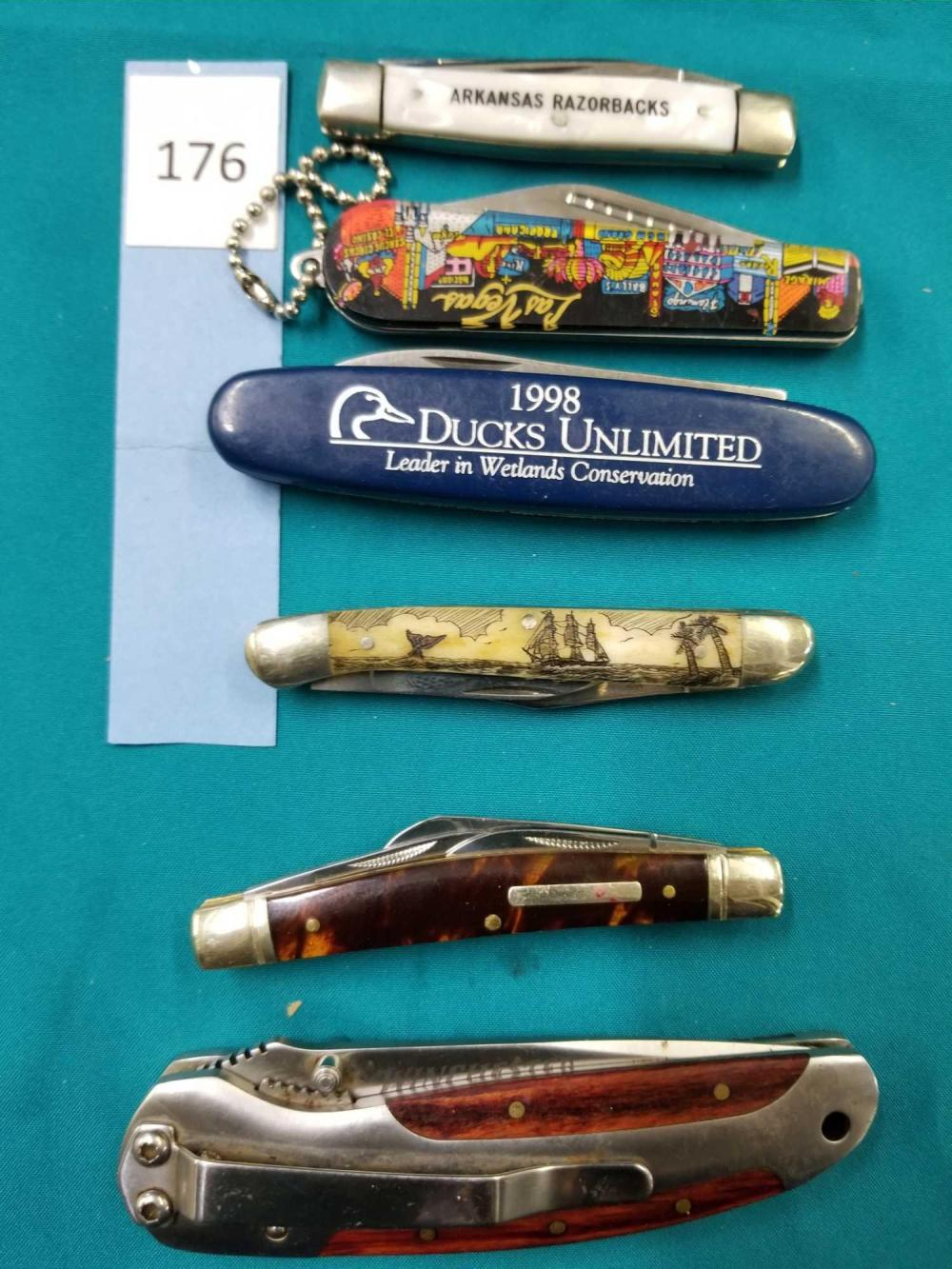 DUCKS UNLIMITED, FROST, CASE RAZORBACK, ROUGH RIDER, WINCHESTER FOLDING KNIVES - 6 ITEMS