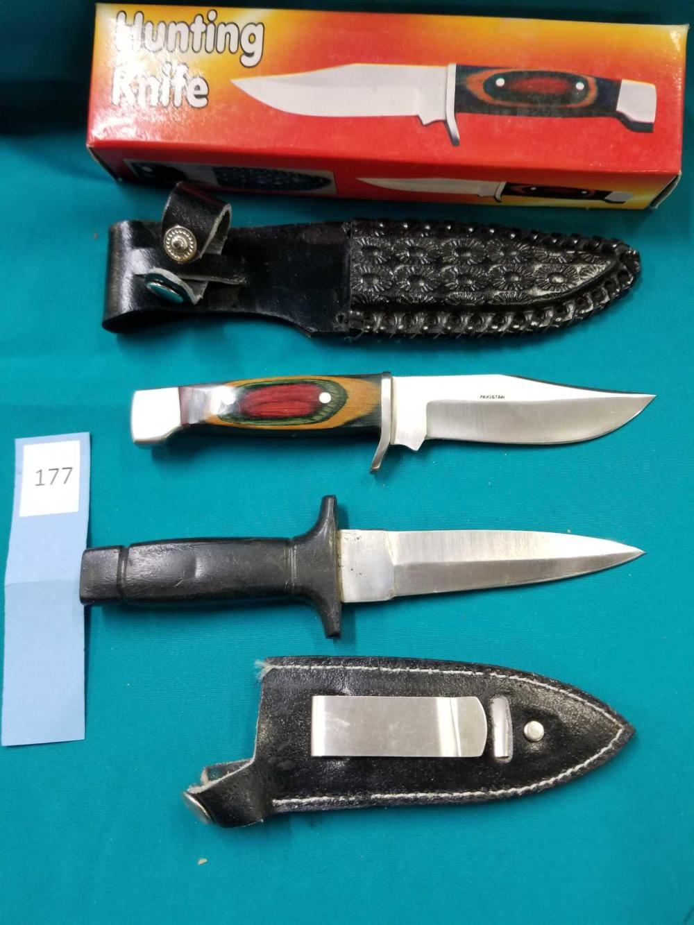HUNTING KNIFE & DAGGER W/ SHEATHS - 2 ITEMS