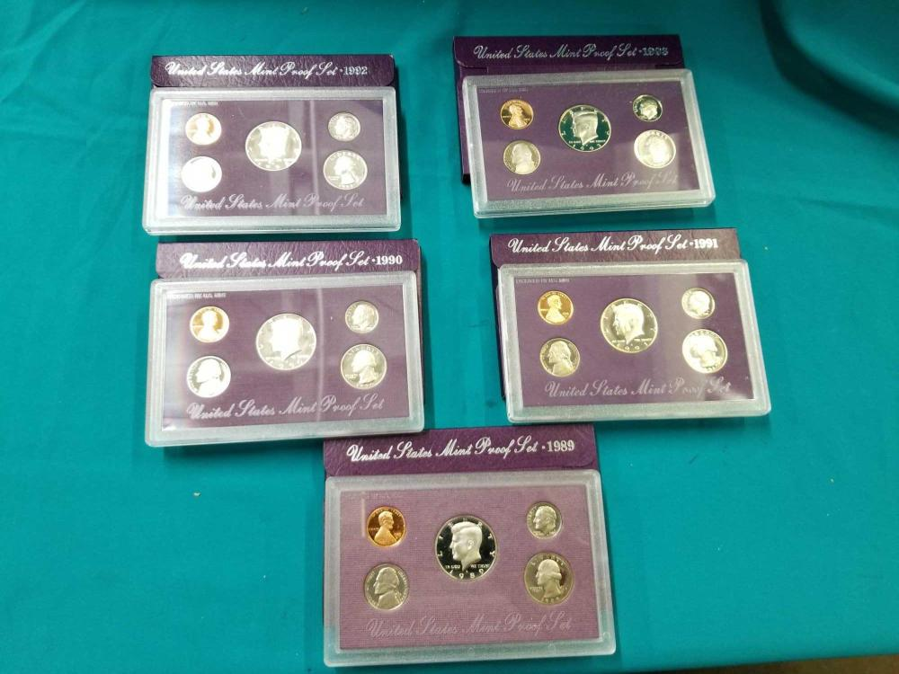 U.S. 1989 - 1993 MINT PROOF COIN SETS - 5 ITEMS