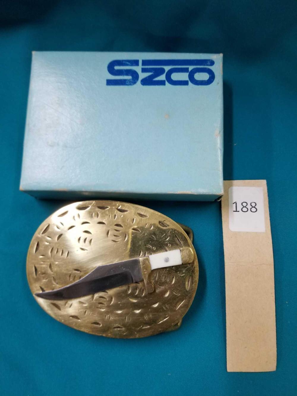 SZCO BRASS KNIFE BELT BUCKLE IN THE BOX