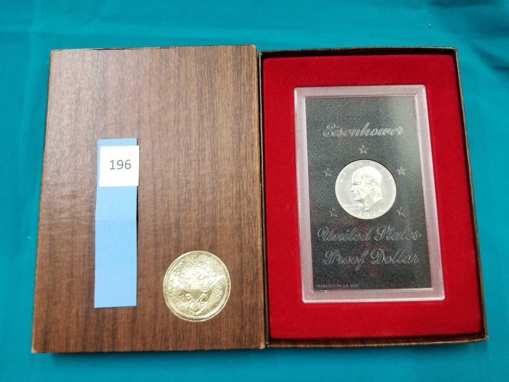 1974 EISENHOWER U.S. PROOF COIN IN A PLASTIC SLAB & ORIGINAL BOX