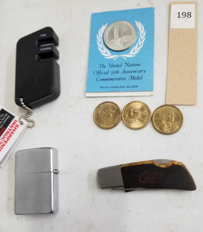 U.S. $1 COINS, U.N. STERLING MEDAL, ZIPPO LIGHTER, BARLOW KNIFE & WUSTHOF KNIFE SHARPENER - 7 ITEMS