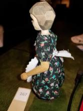 """Lot 167: Artist Polly Page HITTY Primitive Wooden Doll - 6 1/4"""""""